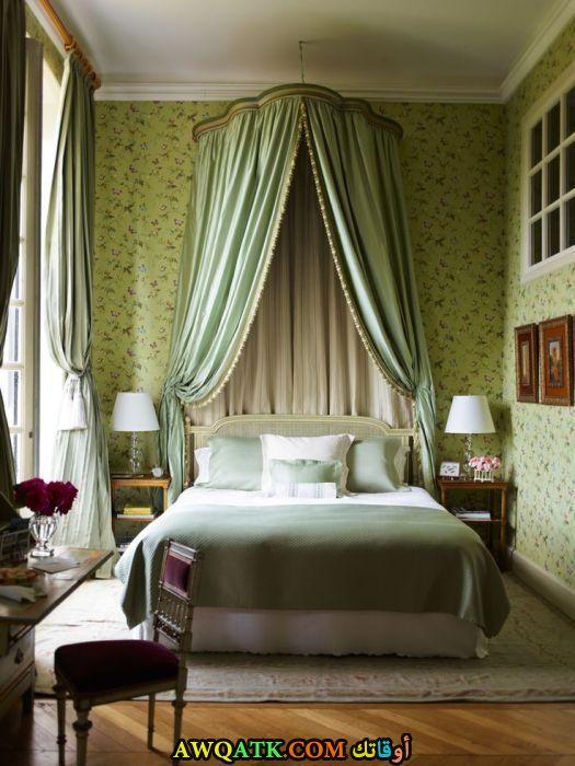 غرفة نوم باللون الأخضر شيك وجميلة