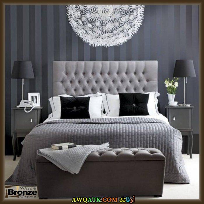 غرفة نوم كلاسيكية باللون الرمادي