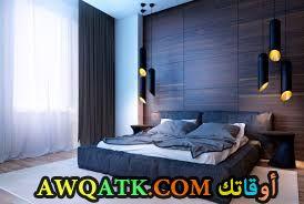 غرفة نوم خشب زرقاء رائعة