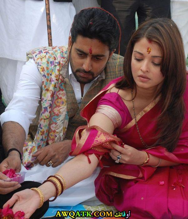 صورة الفنانة الهندية ايشواريا راي وزوجها