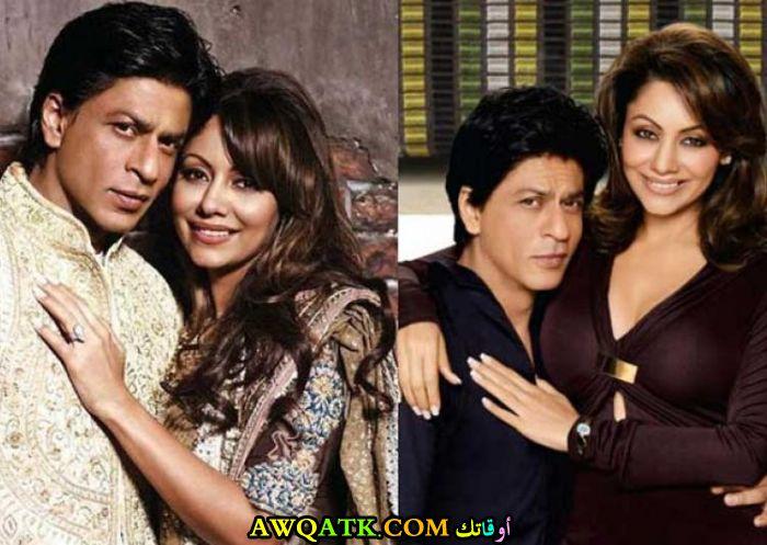 صورة الفنان الهنديشاه روخ خان وزوجته