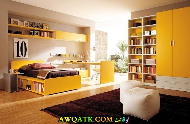 غرفة نوم شيك ورائعة باللون الأصفر