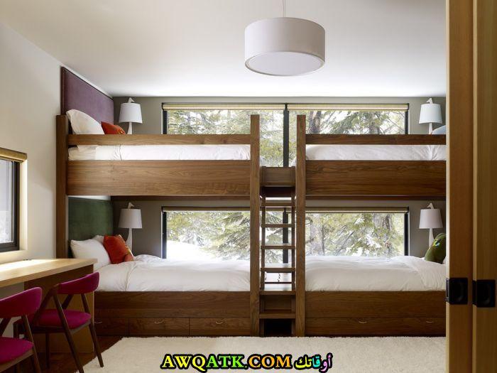 غرفة نوم أطفال جميلة جداً باللون البني