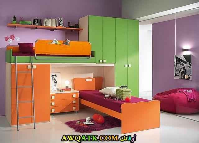 غرفة نوم برتقالية جميلة