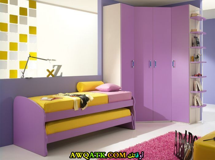غرفة نوم باللون الموف روعة
