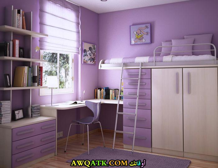 غرفة نوم باللون الموف جديدة وجميلة