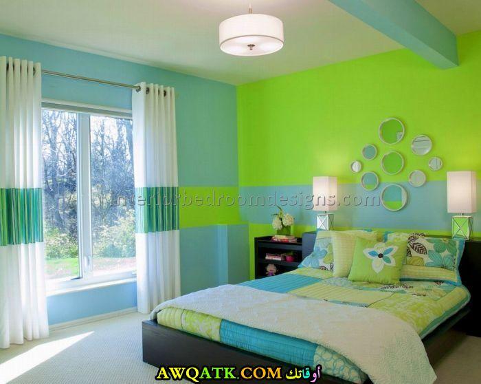 غرفة نوم باللون الأخضر جميلة جداً
