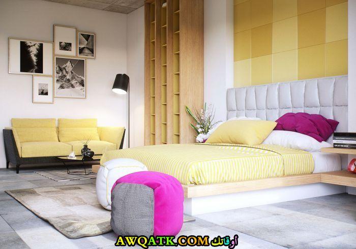 غرفة نوم باللون الأصفر شيك وجميلة
