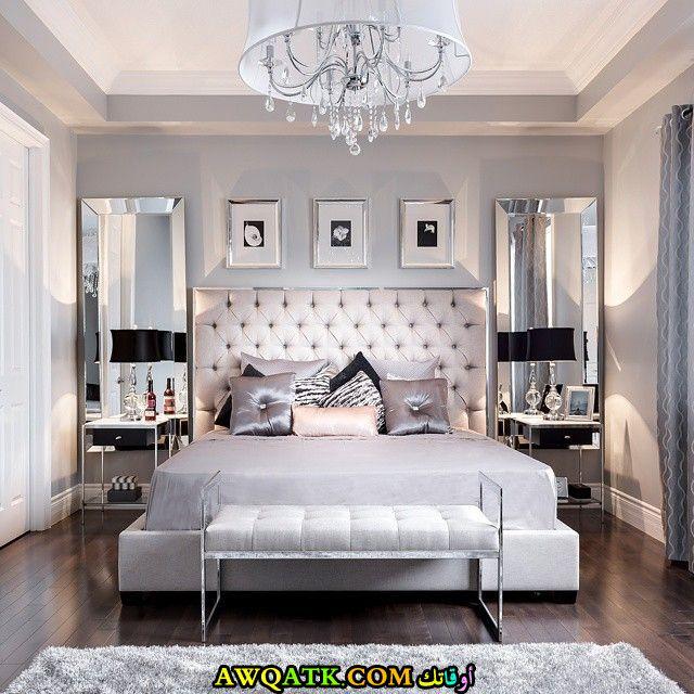 غرفة نوم رمادية اللون شيك جداً