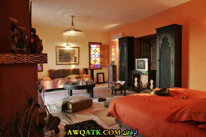 غرفة نوم برتقالية روعة وشيك