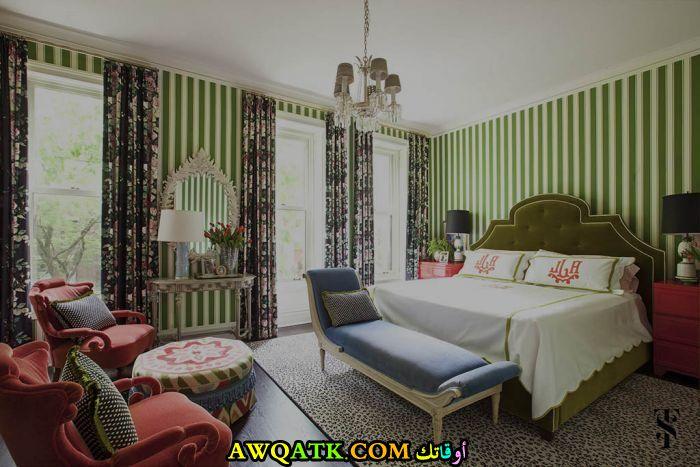 غرفة نوم باللون الأخضر شيك 2017