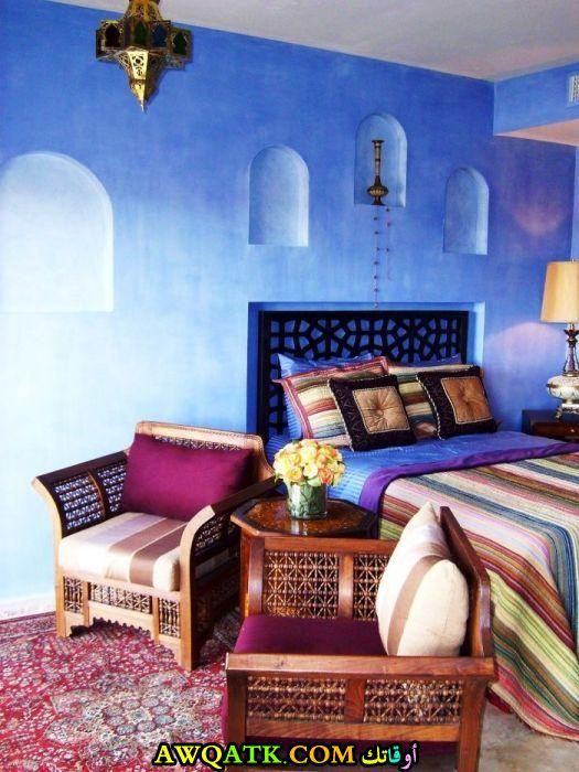 غرفة نوم مغربية زرقاء