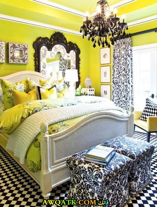 غرفة نوم باللون الأصفر روعة وشيك