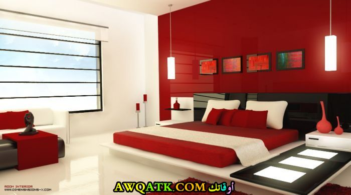 غرفة نوم حمراء مودرن جميلة