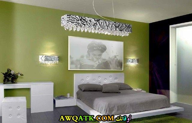 غرفة نوم روعة ياللون الأخضر