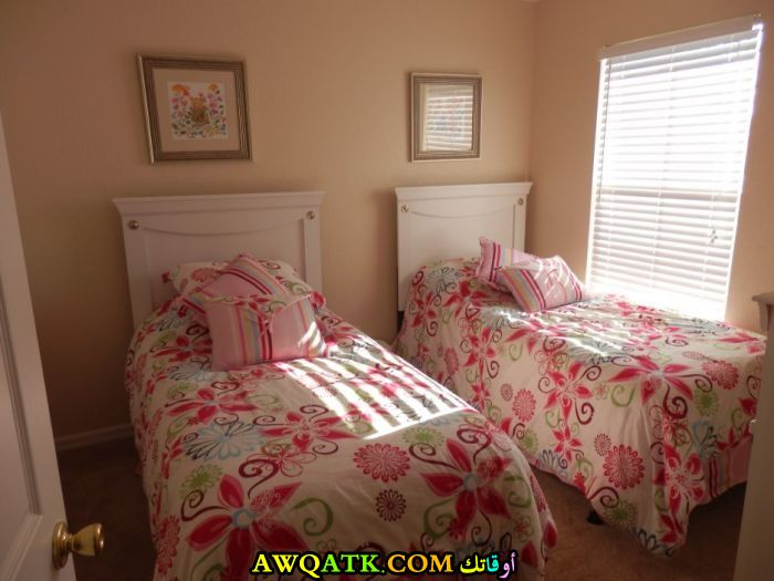 غرفة نوم ثنائية للبنات جميلة جداً