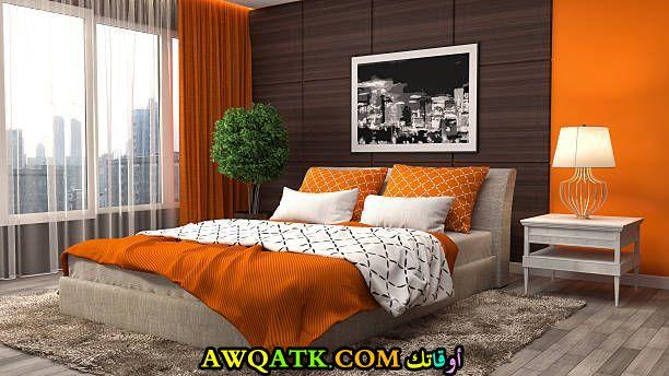 غرفة نوم برتقالية رائعة وشيك