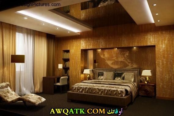 غرفة نوم ثلاثية الأبعاد باللون البيج
