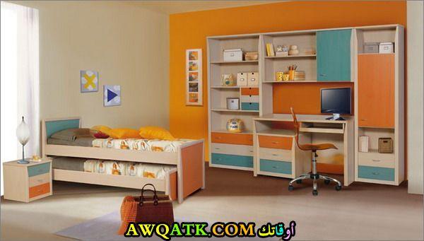 رفة نوم باللون البرتقالي شيك جداً