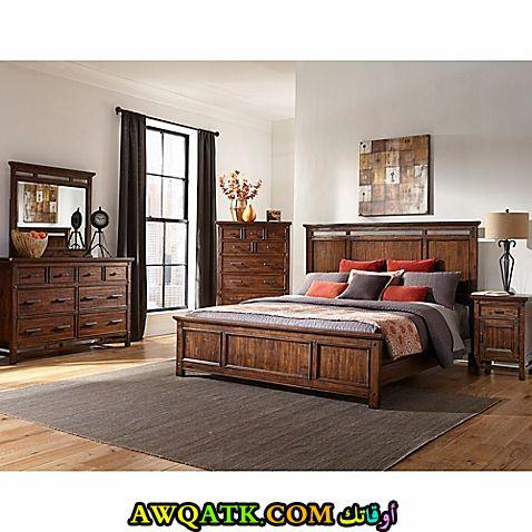 غرفة نوم للعرسان باللون البني جميلة وروعة