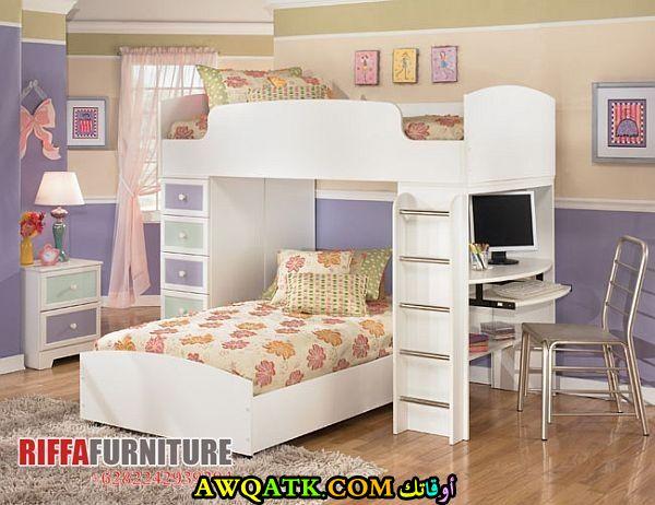 غرفة نوم باللون الأبيض للبنات روعة