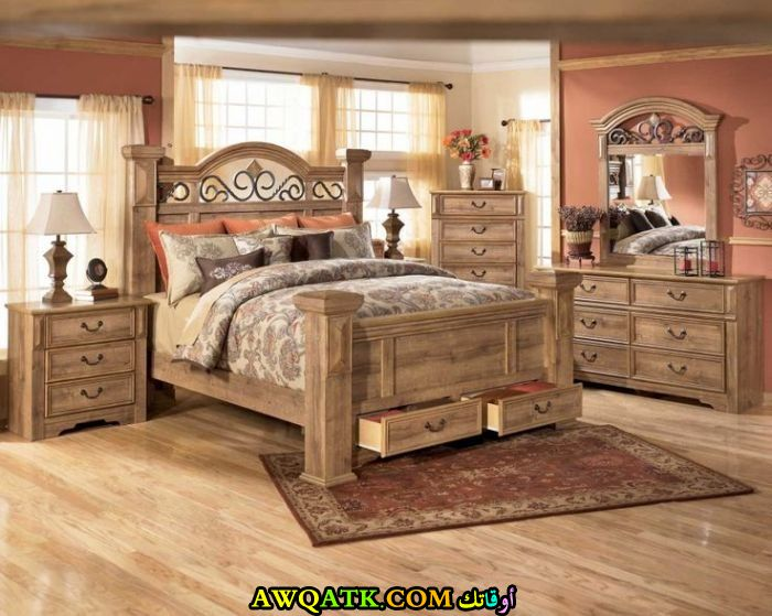 غرفة نوم كاملة باللون البيج