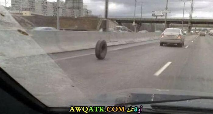 إطار هرب من سيارة