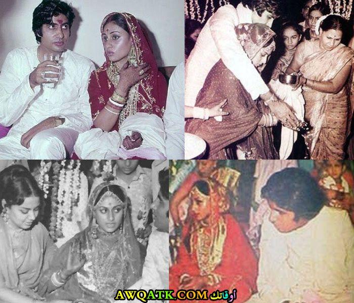 صورة مجمعة جميلة للفنانة الهندية جايا بهادوري باتشان وزوجها أميتاب باتشان في حفل زفافهم