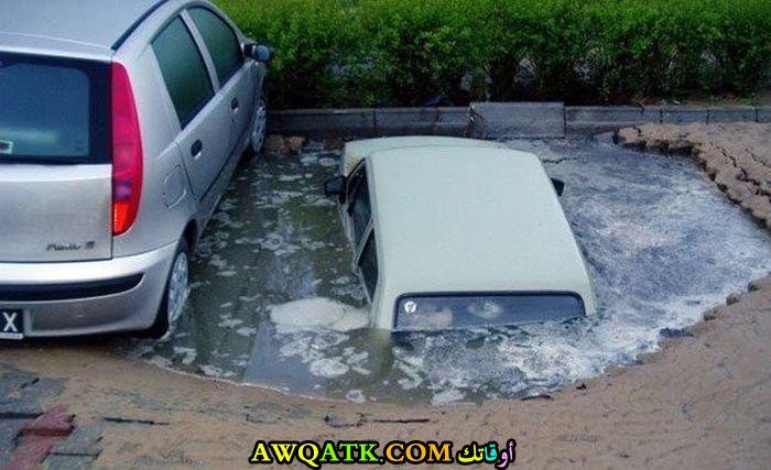 سيارة تغرق في بركة