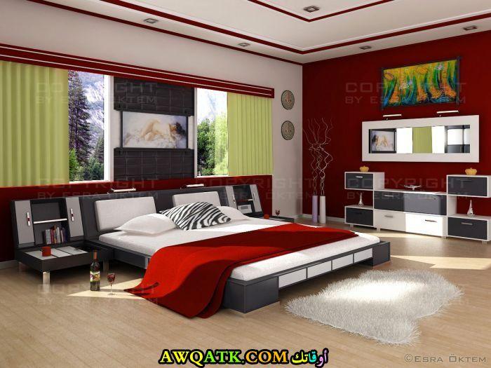 غرفة نوم باللون الأحمر والرمادي رائعة