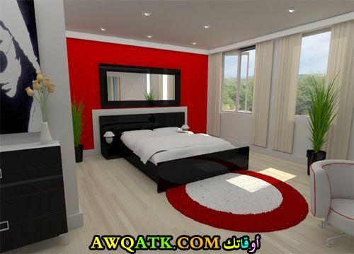 غرفة نوم روعة ياللون الأسود الأحمر