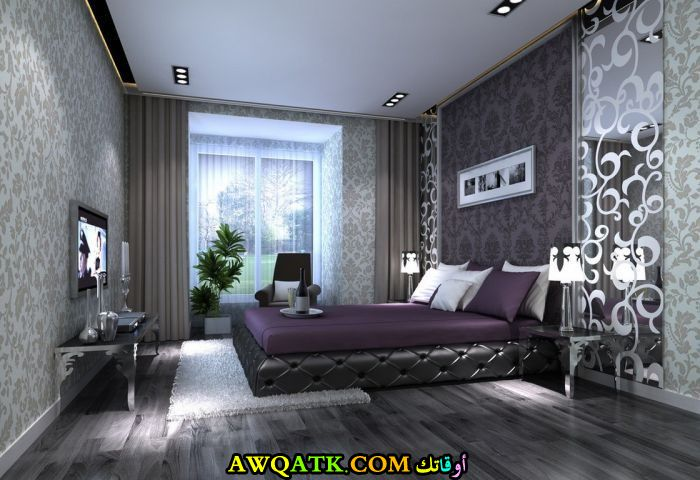 غرف نوم أسود في بنفسجي