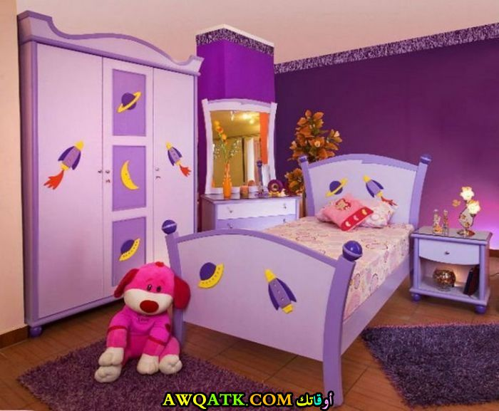غرفة نوم أطفال باللون الموف شيك جداً