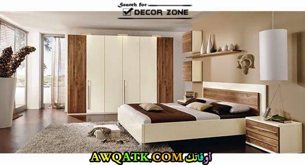 غرفة نوم خشب باللون الأبيض جميلة جداً