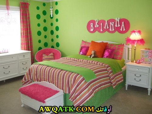 غرفة نوم خضراء للبنات جميلة جداً
