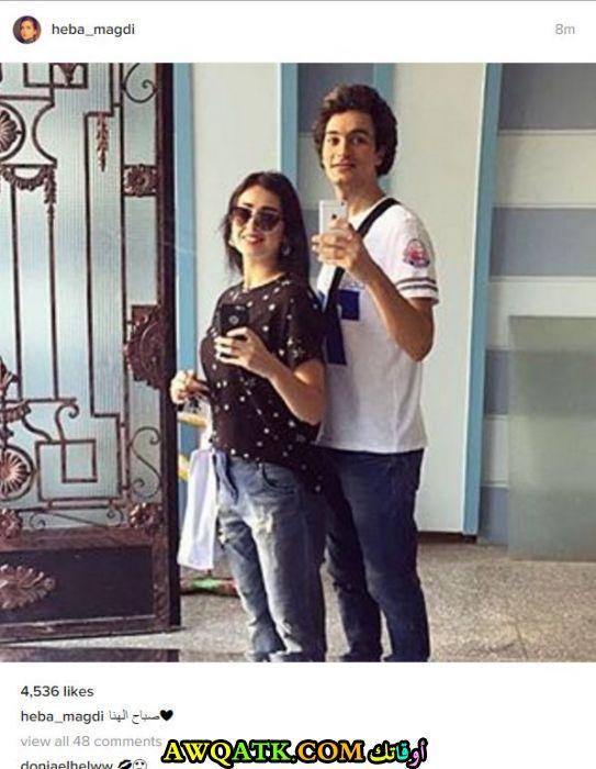 صورة الفنانة المصرية هبة مجدي وزوجها