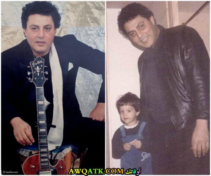 صورة عائلية للفنان حسين الإمام مع ابنه