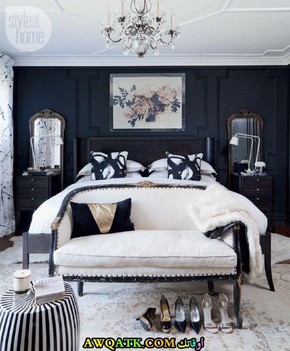 غرفة نوم رائعة باللون الأبيض والأسود