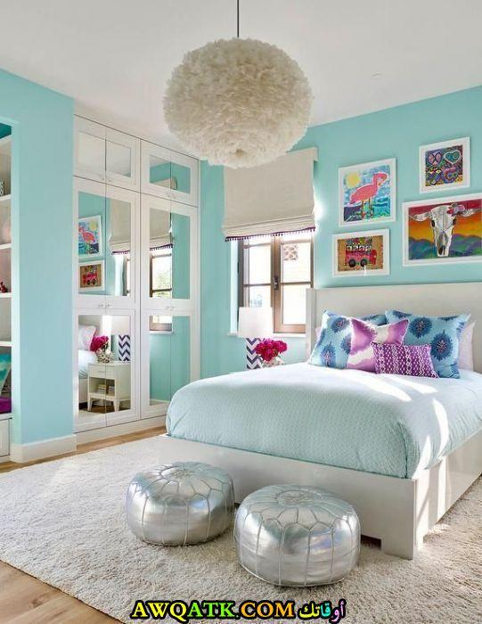 غرفة نوم بنات باللون الفيروزي