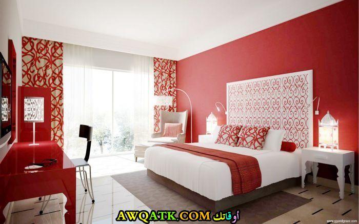 غرفة نوم حمراء جميلة جداأً