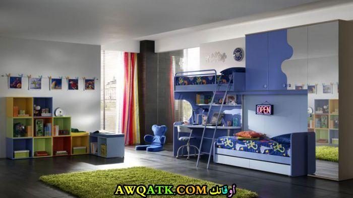 غرفة نوم لطفلين باللون الأزرق