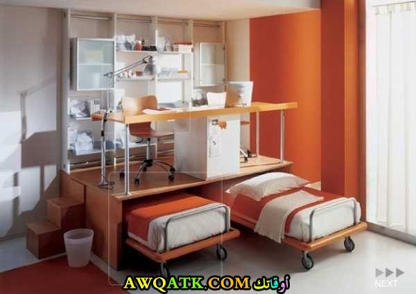 غرفة نوم برتقالية تناسب طفلين