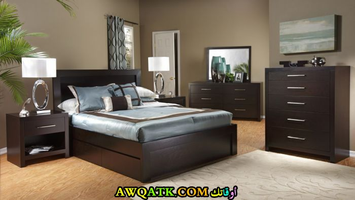 غرفة نوم كاملة بنية اللو ن