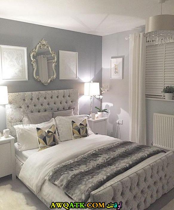 غرفة نوم تنجيد بيضاء