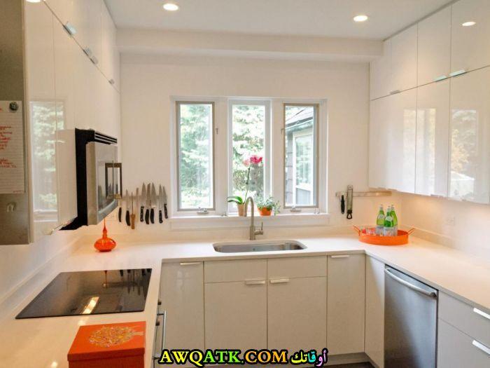 مطبخ بسيط باللون الأبيض للمساحة الصغيرة
