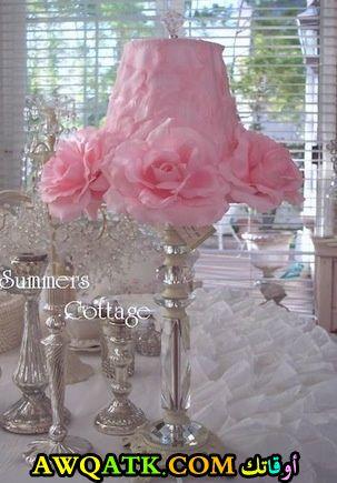أباجورة رومانسية باللون الوردي جميلة جداً