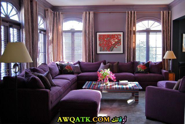 غرفة معيشة باللون البنفسجي جميلة وشيك