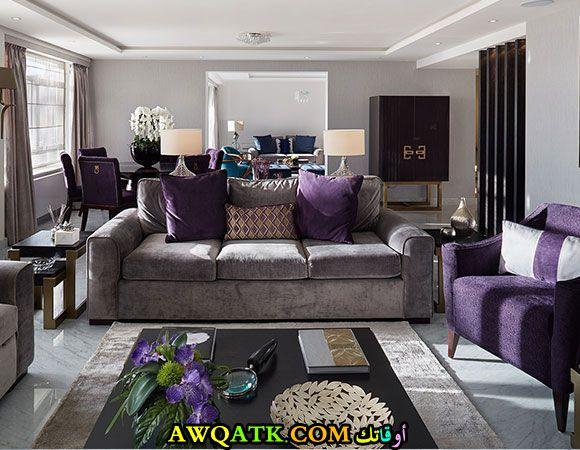 غرفة معيشة باللون البنفسجي شيك جداً
