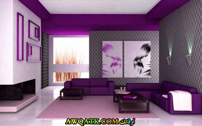 غرفة معيشة باللون البنفسجي جديدة ورائعة
