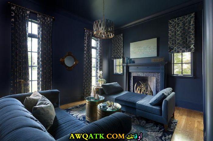 غرفة معيشة باللون الكحلي جديدة وعصرية